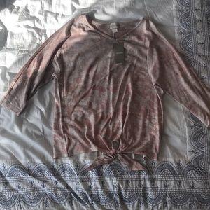 New Chico's Sweater Tunic Size 0 Peach Cream Gold